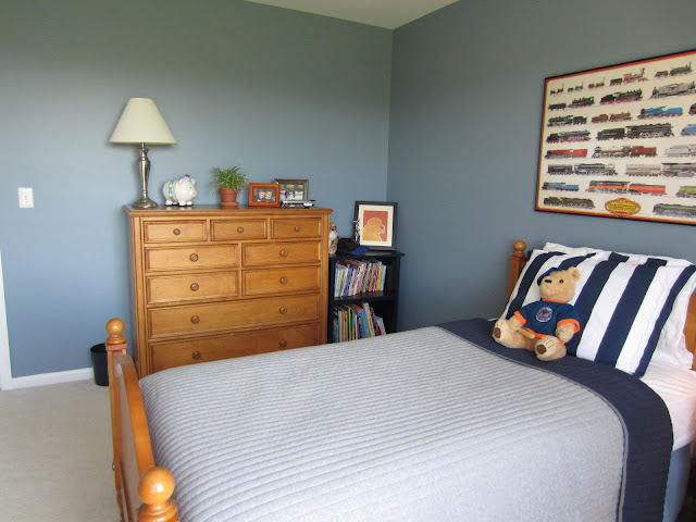 Remodelaholic Blue Boys Bedroom Makeover With Chevron