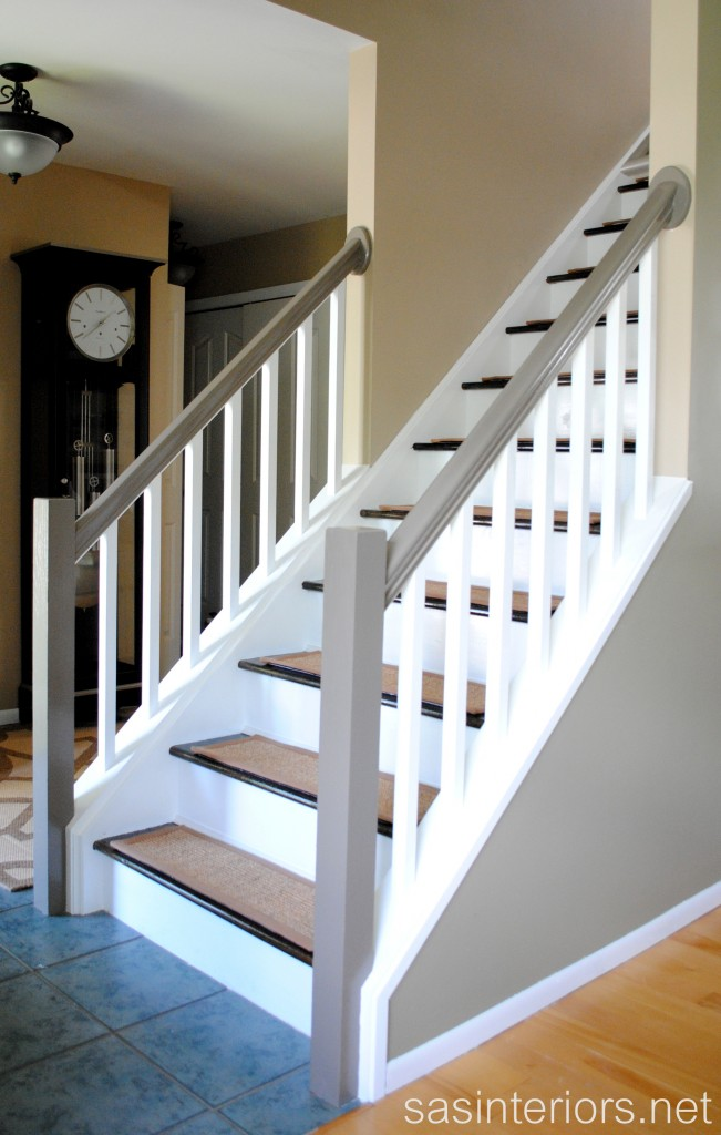 stairs transformed from carpet to wood treads