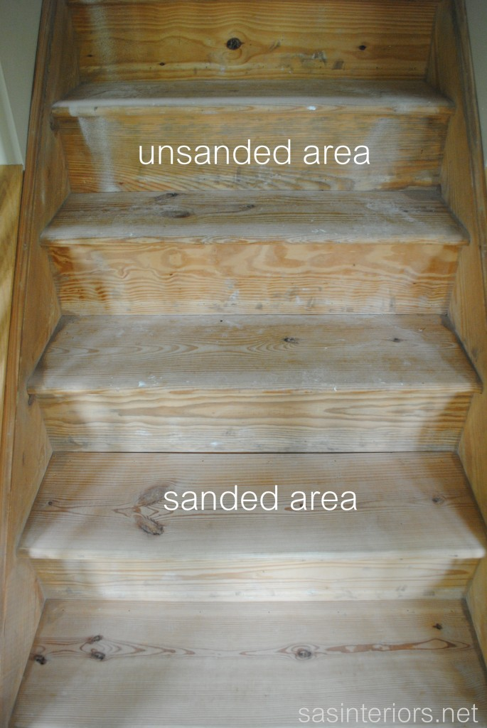 What the sanding did for the stairs a lot