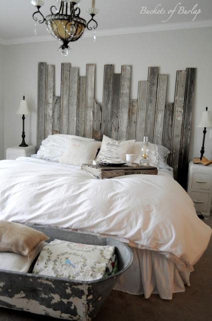 diy rustic barn wood headboard from buckets of burlap