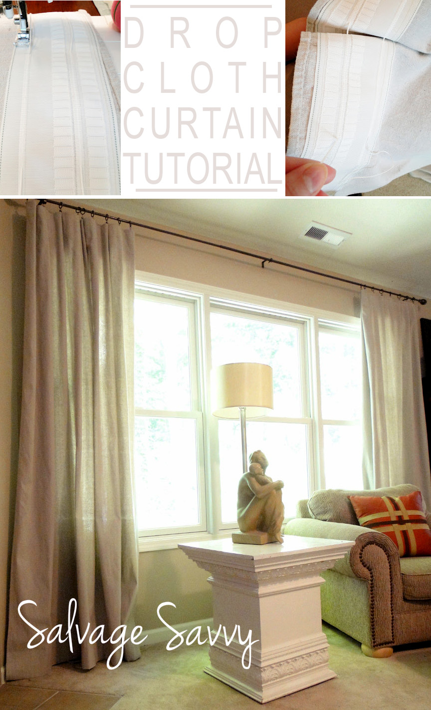 Drop Cloth Curtains Tutorial Remodelaholic Drop Cloth Curtains Diy