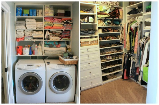 Laundry and mudroom ideas and link party for Master closet laundry room combo