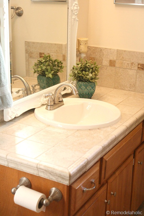 bathroom faucet install after and cabinet