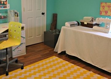 Turquoise and Yellow Craft Room
