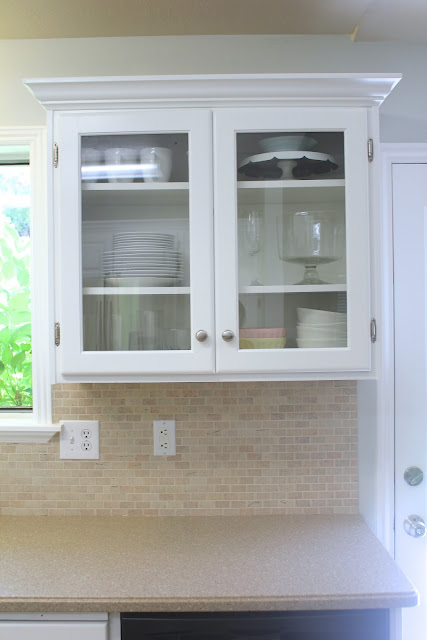 Remodelaholic big kitchen makeover on a little budget Glass cabinet doors