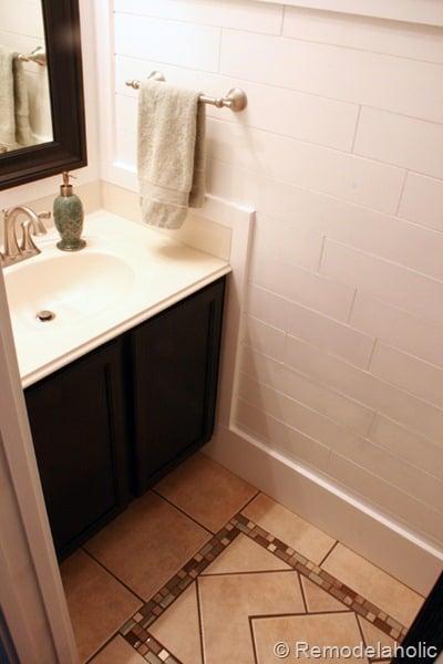 Forced Bathroom Remodel In: Beautiful Half Bathroom Reveal With Plank Walls