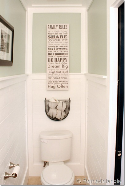 Beautiful half bathroom reveal with plank walls for Small toilet room design