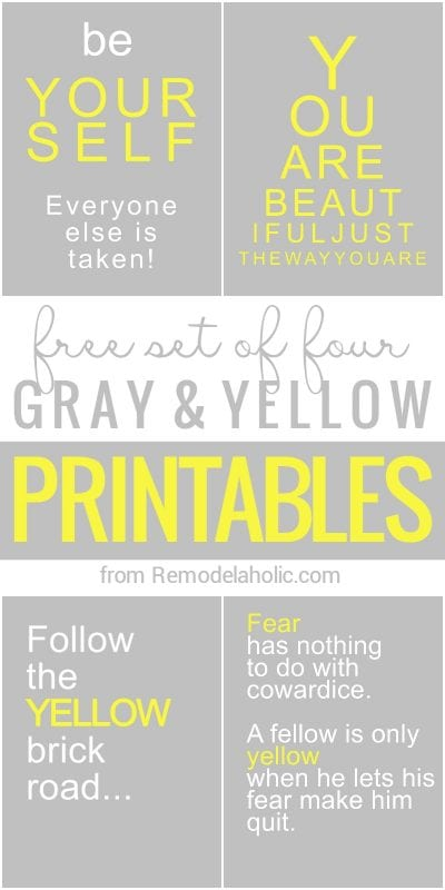 Free gray and yellow quotes and motivational printables @Remodelaholic
