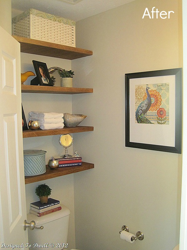 Remodelaholic Half Bath Makeover And Floating Shelf Tutorial