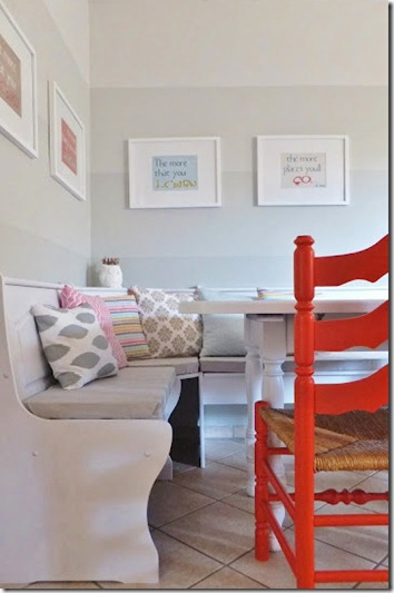 dining nook with ombre painted stripe walls (18)