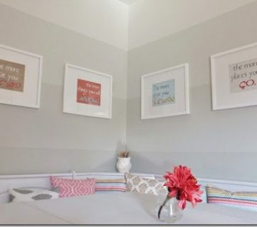 Ombre Painted Walls in Dining Nook