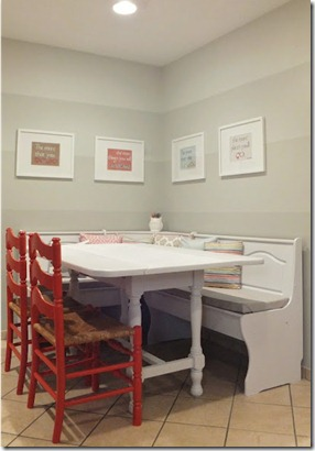 dining nook with ombre painted stripe walls (25)