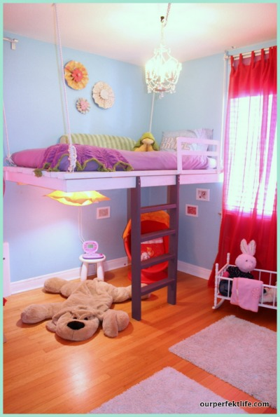 Little Girls Room Idea Loft Bed 400 x 595