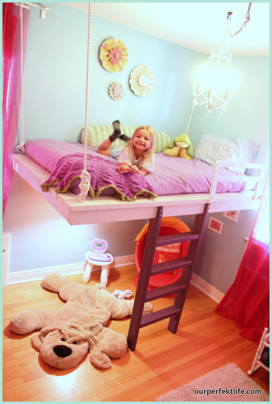 Remodelaholic Diy Hanging Loft Bed In A Girl S Bedroom