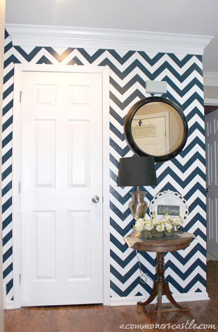 Navy and white chevron stripe painted wall