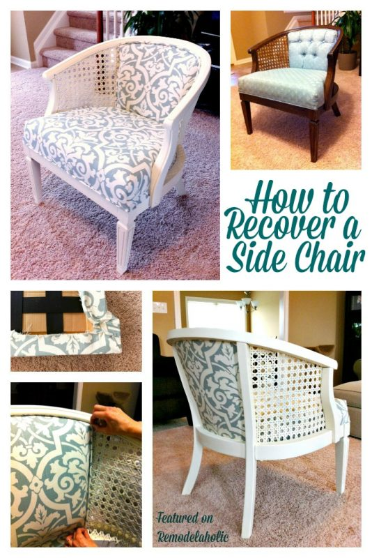 Remodelaholic Cane Chair Reupholster DIY - Reupholster chairs