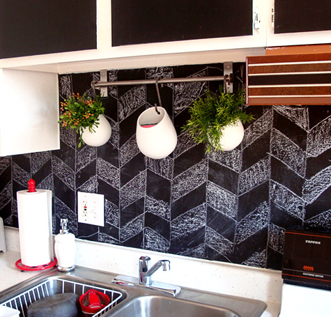 chalkboard chevron backsplash