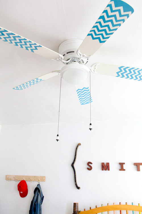 chevron painted ceiling fan blades