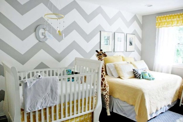 Chevron painted nursery wall