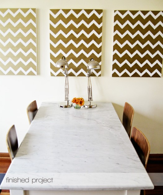 gold chevron canvas art project