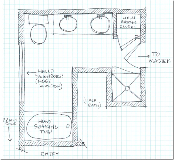 Fancy Master Bathroom Floorplan Sketch