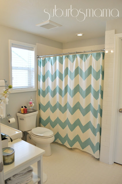 Remodelaholic home sweet home on a budget master baths for Master bathroom curtains