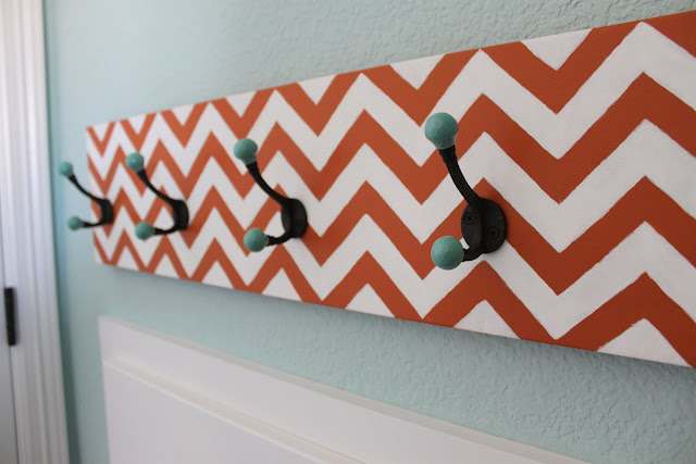 Chevron stripe coat rack