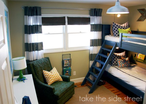 Remodelaholic how to build a toy cubby shelf boy 39 s room makeover - Boy and girl shared room ideas bunk bed ...