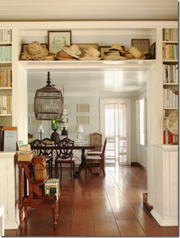 built in bookcases around doorway!