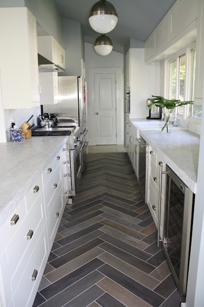 Great herringbone tile flooring