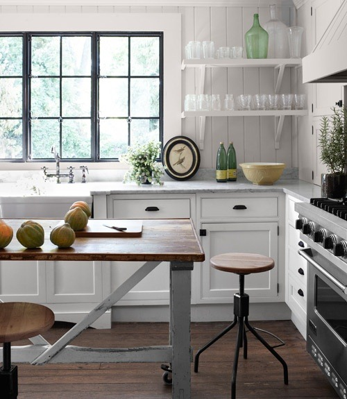 Cute industrial kitchen open shelving