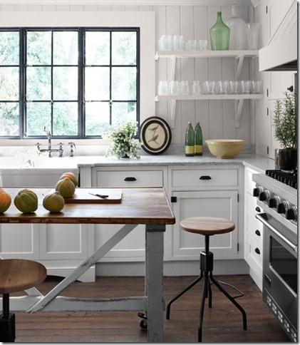industrial kitchen open shelving