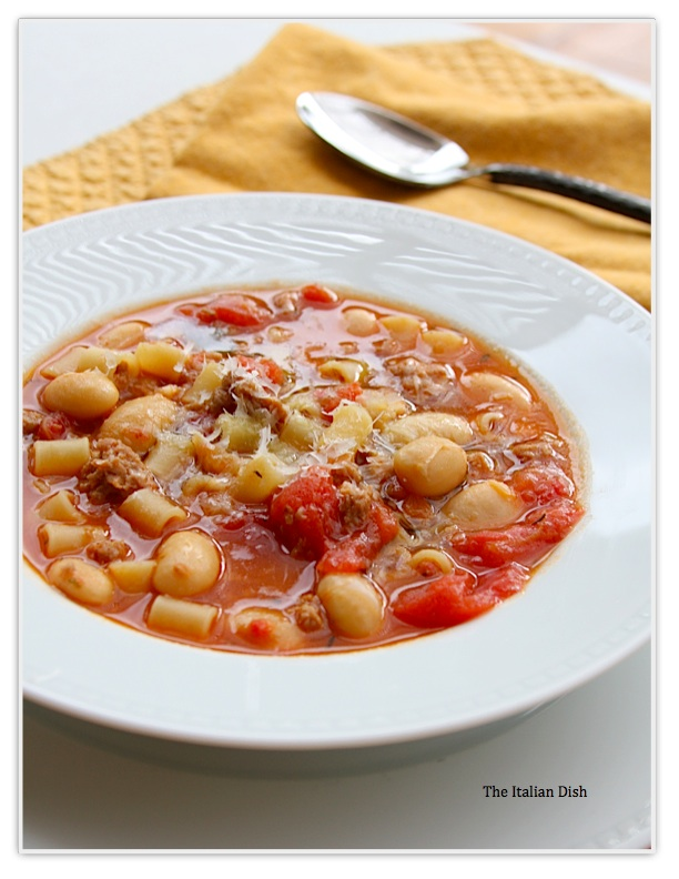 Sausage and Bean Soup with Pasta from The Italian Dish Blog