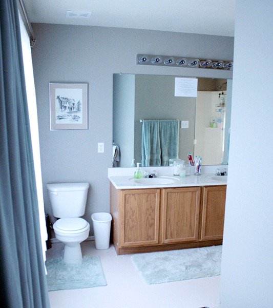 Elegant Right after I hung the drapes and painted the floor u How to Add height to a short bathroom vanity