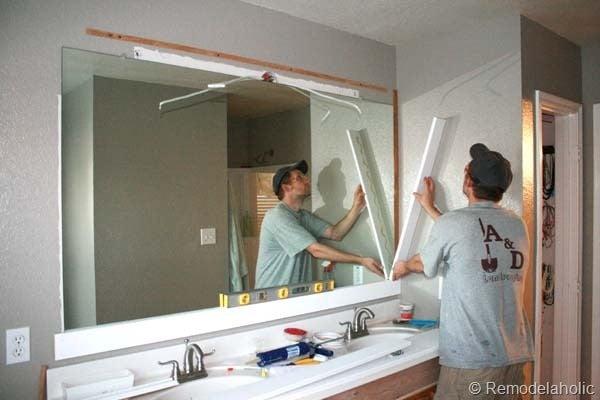 Framing a large bathroom mirror 15