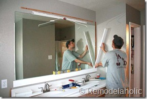 Bathroom Mirror Edge Trim remodelaholic | framing a large bathroom mirror