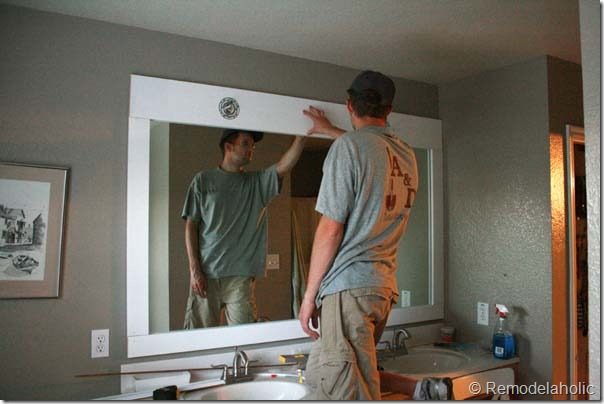 Framing a large bathroom mirror (19)
