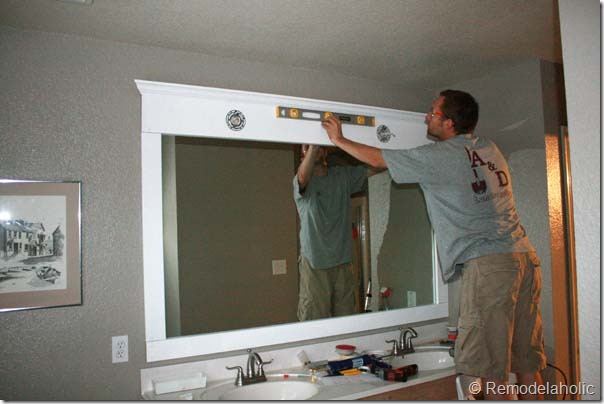 Framing a large bathroom mirror diy for How to frame mirror in bathroom