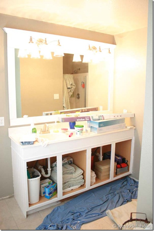 large vanity mirror with lights. Framing a large bathroom mirror  23 Remodelaholic A Large Bathroom Mirror