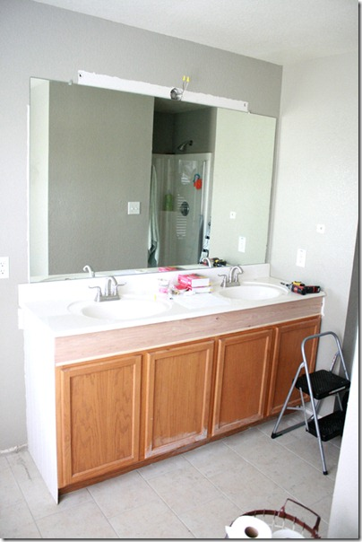 How to Add height to a short bathroom vanity  43. Remodelaholic   How to Raise Up A Short Vanity