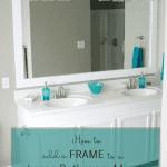 How To Frame A Bathroom Mirror, DIY Bathroom Upgrade, @Remodelaholic