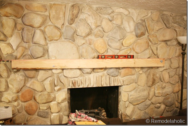 Installing A Wood Mantel On Stone Wall, Floating Mantel On Uneven Stone Fireplace