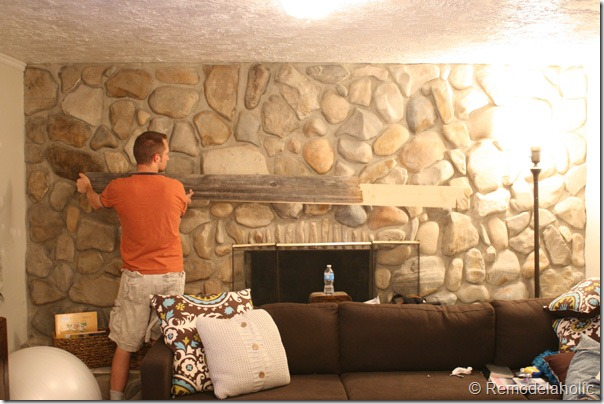 Installing a wood mantel on a stone wall (5)