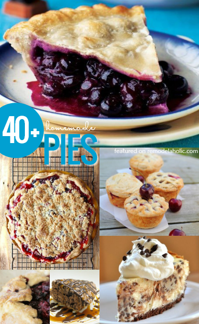 Whether you're looking for a fruit pie, chocolate pie, cream pie, or a miniature pie, these are the BEST! 40 Best Homemade Pie Recipes And Pie Inspired Recipes #Remodelaholic #Foodieaholic
