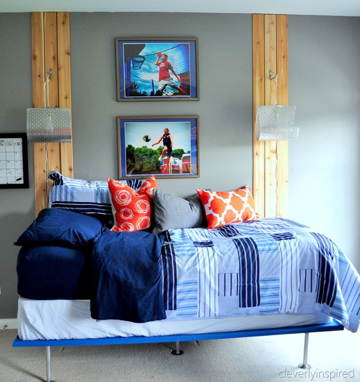 Teen S Bedroom With Feature Grey Wall And Monochrome Bed Linen: A Colorful Teen Boy Room