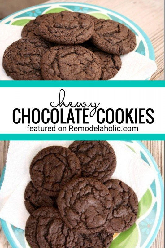 Easy And Delicious Recipe For Chewy Chocolate Cookies Recipe Via Remodelaholic.com