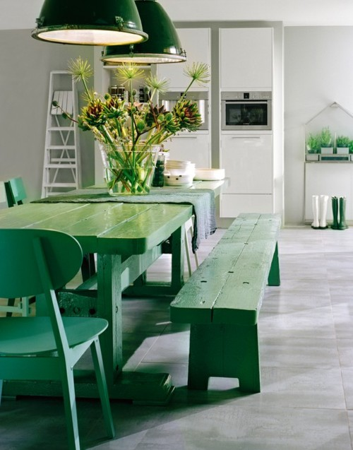 Emerald green table and chairs