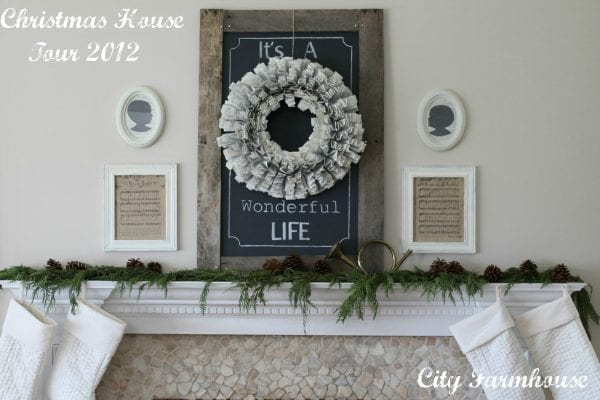 Holiday (or Christmas) mantel ideas, Chalkboard It's a Wonderful Life by City Farmhouse