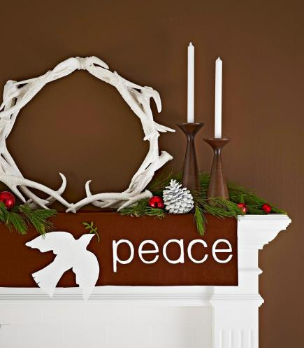 Peace holiday mantel ideas by Midwest Living