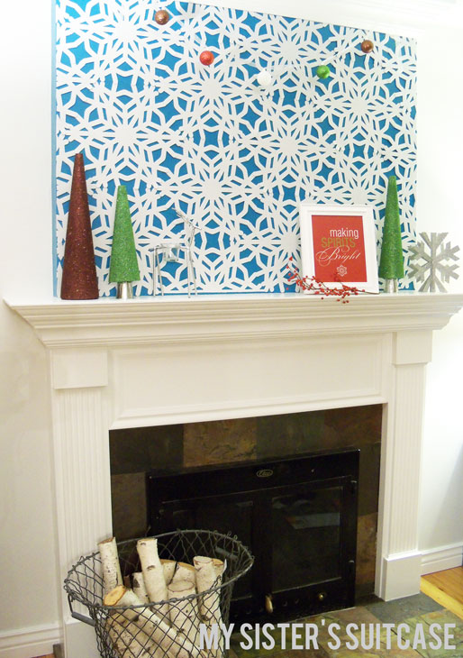 snowflake mantel, Holiday or Christmas mantel ideas by My Sister's Suitcase